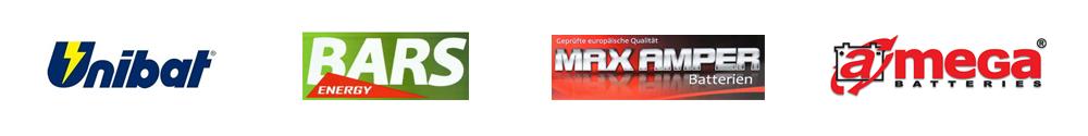 loga producentów akumulatorów unibat - bars - max amper